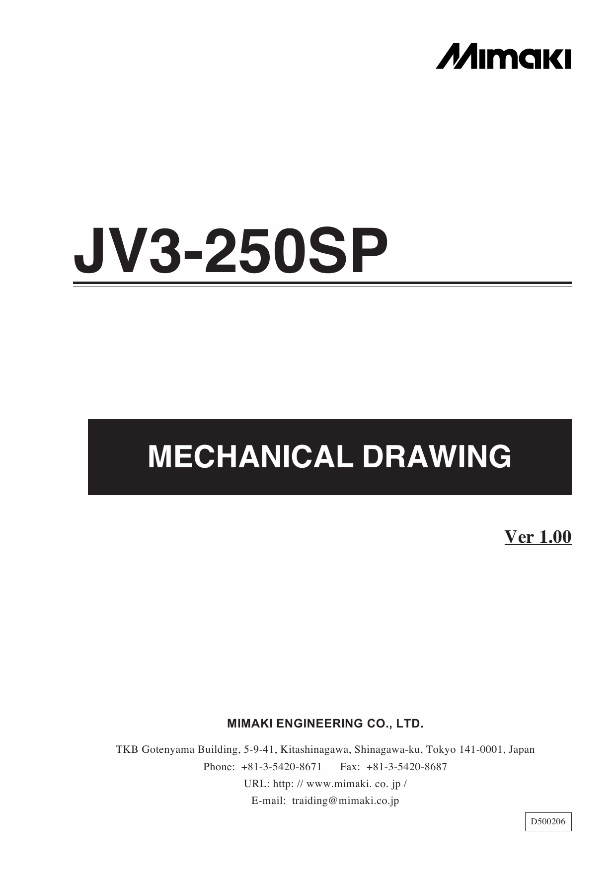 MIMAKI JV3 250SP MECHANICAL DRAWING Parts Manual-1